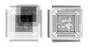 Lleft: X-ray Image with hidden structures. Rigth: The Y.micro3Dslice shows all defects in the Die-Attach without interfering overlays.